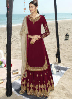 Designer Red Party Wear Faux Georgette Sharara Suit