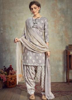 Grey Cotton Casual Wear Patiyala Salwar Suit