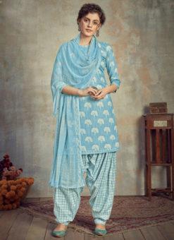 Sky Blue Cotton Casual Wear Patiyala Salwar Suit
