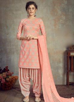 Peach Cotton Casual Wear Patiyala Salwar Suit
