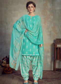 Sea Green Cotton Casual Wear Patiyala Salwar Suit