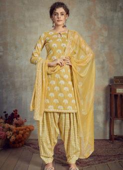Yellow Cotton Casual Wear Patiyala Salwar Suit