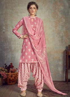 Pink Cotton Casual Wear Patiyala Salwar Suit