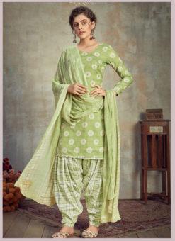 Green Cotton Casual Wear Patiyala Salwar Suit