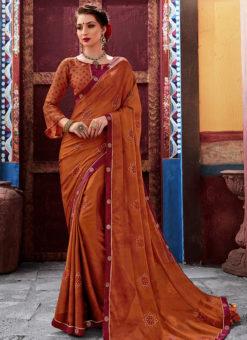 Brown Latest Designer Casual Wear Chiffon Saree