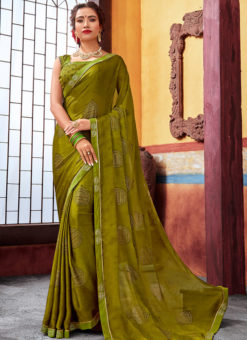 Olive Latest Designer Casual Wear Chiffon Saree