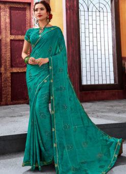 Sea Green Latest Designer Casual Wear Chiffon Saree