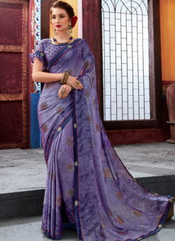Blue Latest Designer Casual Wear Chiffon Saree