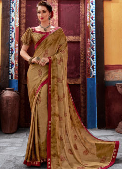 Beige Latest Designer Casual Wear Chiffon Saree