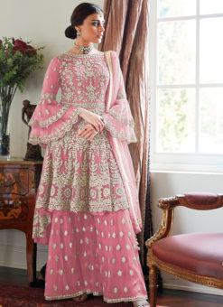 Pink Heavy Designer Soft Net Sharara Style Suit