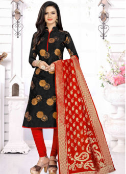 Black Banarasi Silk Party Wear Churidar Salwar Suit