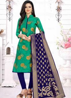 Green Banarasi Silk Party Wear Churidar Salwar Suit