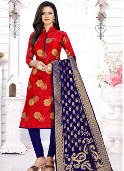 Red Banarasi Silk Party Wear Churidar Salwar Suit