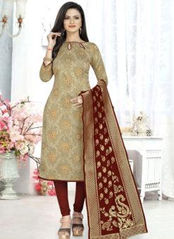 Beige Banarasi Silk Party Wear Churidar Salwar Suit