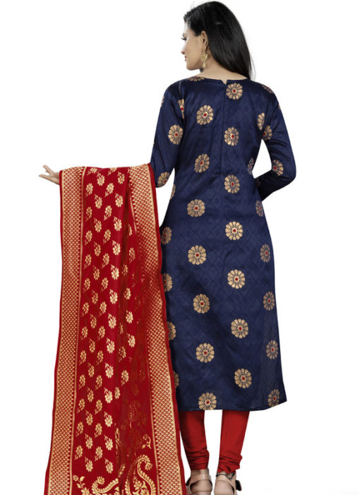 Blue Banarasi Silk Party Wear Churidar Salwar Suit