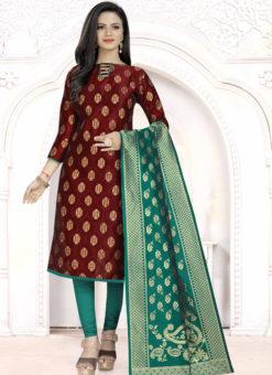 Maroon Banarasi Silk Party Wear Churidar Salwar Suit