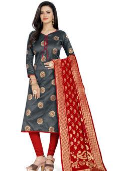 Grey Banarasi Silk Party Wear Churidar Salwar Suit