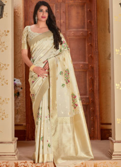 Beige Banarasi Silk Zari Weaving Party Wear Saree