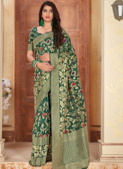 Green Banarasi Silk Zari Weaving Party Wear Saree