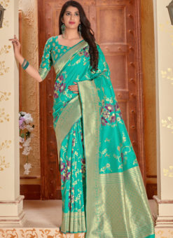 Aqua Banarasi Silk Zari Weaving Party Wear Saree