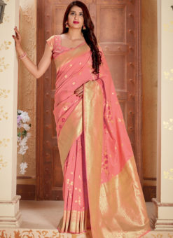 Peach Banarasi Silk Zari Weaving Party Wear Saree