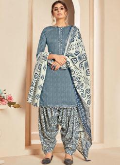 Grey Cotton Casual Wear Printed Patiyala Salwar Suit