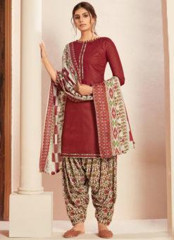 Maroon Cotton Casual Wear Printed Patiyala Salwar Suit