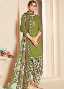 Green Cotton Casual Wear Printed Patiyala Salwar Suit