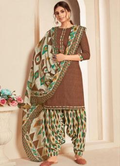 Brown Cotton Casual Wear Printed Patiyala Salwar Suit