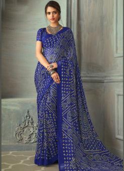Aesthetic Blue Chiffon Bandhni Print Traditional Saree