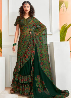 Lovely Green Chiffon Printed Party Wear Saree