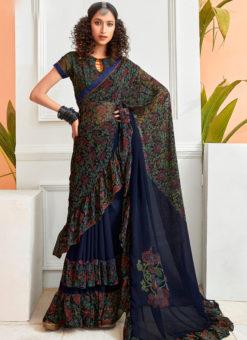 Amazing Blue Chiffon Printed Party Wear Saree