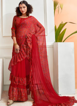 Attractive Red Chiffon Printed Party Wear Saree