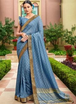Blue Satin Silk Printed Party Wear Saree