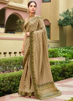 Beige Satin Silk Printed Party Wear Saree