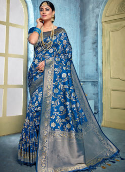 Blue Banarasi Silk Designer Zari Weaving Saree