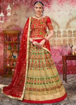Lovely Green Net Embroidered Work Wedding Lehenga Choli