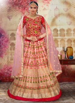 Dazzling Pink Net Embroidered Work Wedding Lehenga Choli