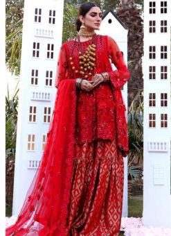 Red Heavy Net Designer Party Wear Sharara Suit