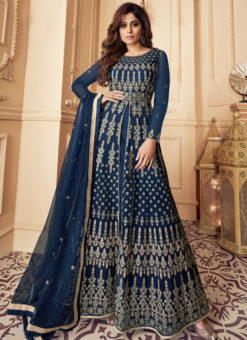 Navy Blue Net Embroidered Work Designer Anarkali Suit