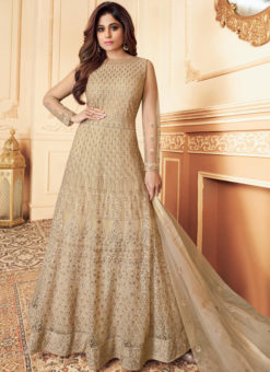 Beige Net Embroidered Work Designer Anarkali Suit