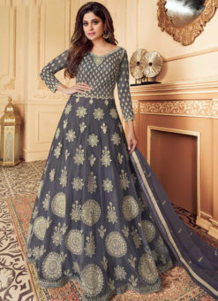 Grey Net Embroidered Work Designer Anarkali Suit