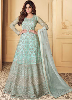 Aqua Net Embroidered Work Designer Anarkali Suit