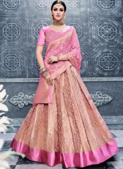 Pink Heavy Designer Bridal Banarasi Silk Lehenga Choli