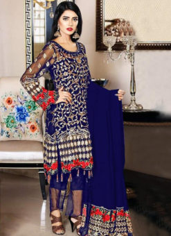 Attractive Blue Georgette Designer Pakistani Suit