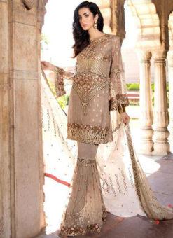 Elegant Beige Georgette Embroidered Work Pakistani Suits