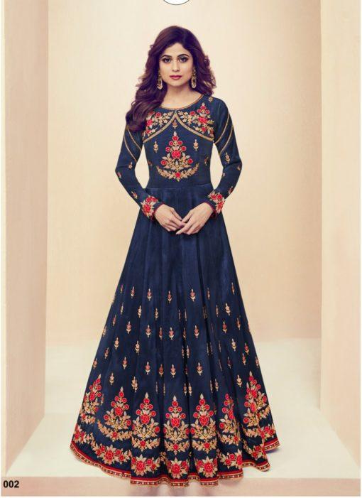 Blue Melbourne Silk Designer Party Wear Anarkali Suit