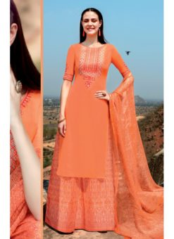 Orange Cotton Satin Kimora Party Wear Palazzo Suit