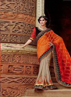 Orange And Beige Silk Designer Half N Half Saree