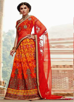 Red Net Lehenga Style Designer Party Wear Saree